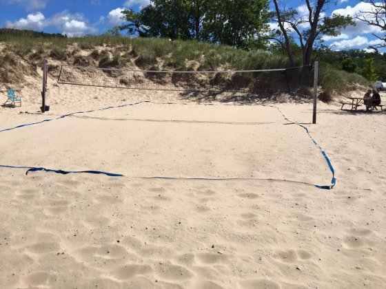 One of the volleyball nets set up on the South end of Pentwater Beach